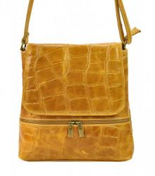 Kožená dámska crossbody kabelka v kroko dizajne Camel hnedá