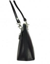 Kožená malá dámska crossbody kabelka bielo-čierna #1