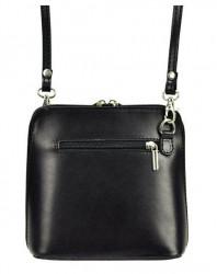 Kožená malá dámska crossbody kabelka bielo-čierna #2