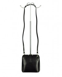 Kožená malá dámska crossbody kabelka bielo-čierna #3
