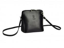 Kožená malá dámska crossbody kabelka bielo-čierna #4