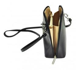 Kožená malá dámska crossbody kabelka bielo-čierna #6