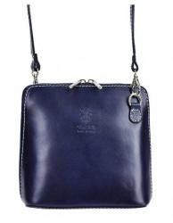 Kožená malá dámska crossbody kabelka tmavá modra