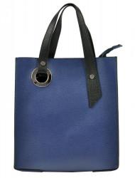 Kožená modrá obdĺžniková dámska kabelka do ruky