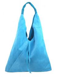 Kožená veľká dámska kabelka Alma svetlo modrá