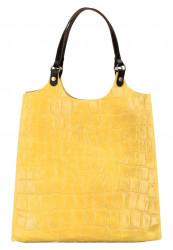 Kožená veľká dámska kabelka Ginevra žltá