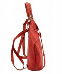 Pierre Cardin Kožená veľká dámska kabelka do ruky / ruksak červená #1