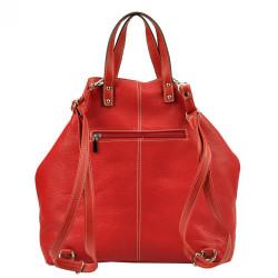 Pierre Cardin Kožená veľká dámska kabelka do ruky / ruksak červená #2