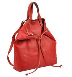 Pierre Cardin Kožená veľká dámska kabelka do ruky / ruksak červená #3