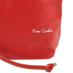 Pierre Cardin Kožená veľká dámska kabelka do ruky / ruksak červená #4