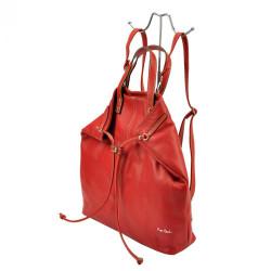Pierre Cardin Kožená veľká dámska kabelka do ruky / ruksak červená #5