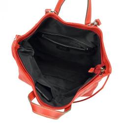 Pierre Cardin Kožená veľká dámska kabelka do ruky / ruksak červená #6