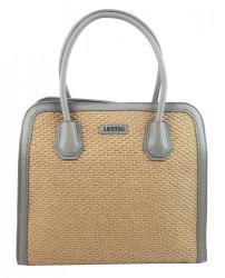 Šedá dámska kabelka do ruky v prepletanom štýlu 4490-TS