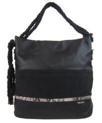 Veľká čierna dámska kabelka s lanovými uchami 4543-BB