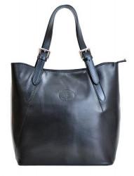 Veľká čierna kožená dámska kabelka cez rameno
