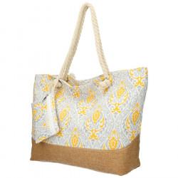 Veľká šedo-žltá plážová taška cez rameno B6802