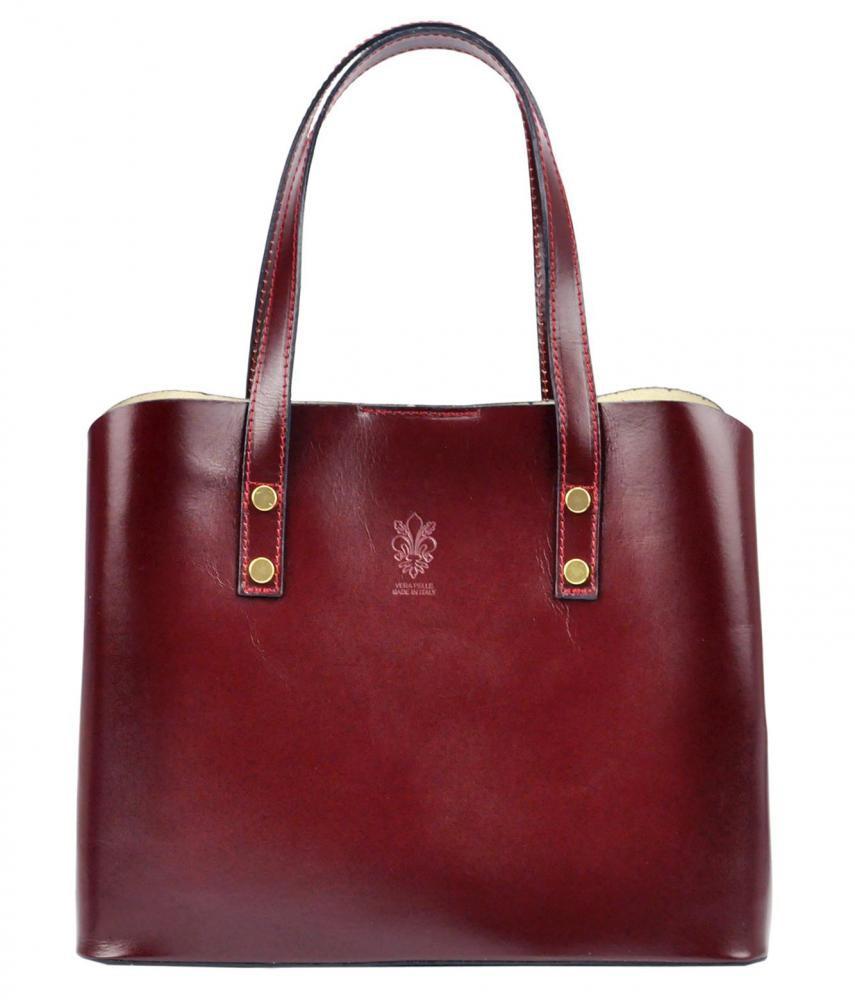 Kožená bordová dámska kabelka do ruky Florencia