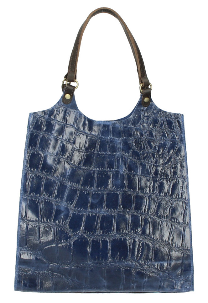 Kožená veľká dámska kabelka Ginevra modrá