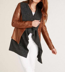 2-v-1-koženo-vlnená bunda, koňakovo-šedá