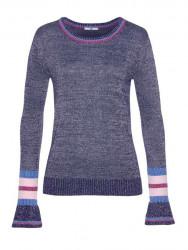 AJC trblietavý pletený sveter, modro-strieborná