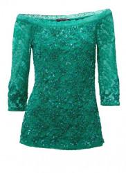 Carmen čipkovaný top s flitrami, zelená