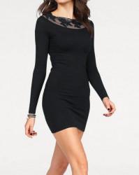 Carmen pletené šaty s krajkou, čierna