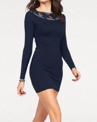 Carmen pletené šaty s krajkou, modrá