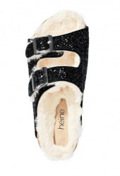Čierne trblietavé šľapky s kožušinou #3