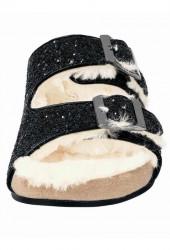 Čierne trblietavé šľapky s kožušinou #4