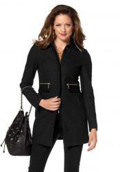 Čierny kabát so zlatými zipsami Melrose 2b491998a4