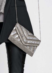 Clutch kabelka, strieborná #3