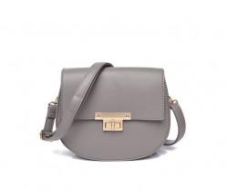 Crossbody sivá kabelka so sponou zlatej farby
