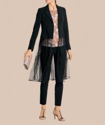 Dlhé sako s odnímateľným priesvitným dielom, čierne