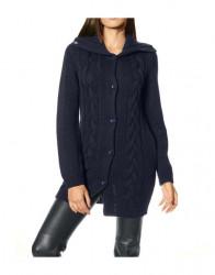 Dlhý pletený sveter s osmičkami, modrý #1