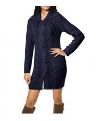Dlhý pletený sveter s osmičkami, modrý #2