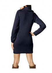 Dlhý pletený sveter s osmičkami, modrý #3