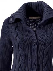 Dlhý pletený sveter s osmičkami, modrý #4