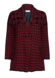 Dlhý vzorovaný pletený kabátik, červeno-čierna