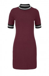 Džersejové šaty AJC, vínovo-červená