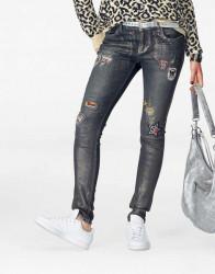 Džínsy s našívačkami Blue Monkey, tmavomodré 32 inch