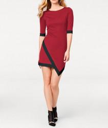 Elegantné šaty s asymetrickým lemom, červeno-čierne