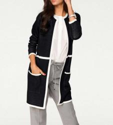 Elegantný dlhý úpletový sveter, čierna