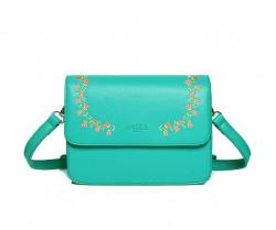 FABLE kabelka cez plece s vyšívanými ružami - zelená