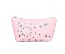 FABLE kozmetická taštička s vyšívanými včelami - ružová