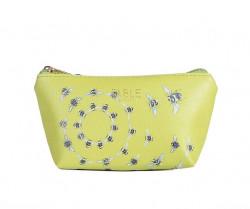 FABLE kozmetická taštička s vyšívanými včelami -svetlozelená