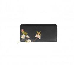 FABLE listová peňaženka s vyšívanými kvetmi - čierna