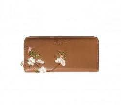 FABLE listová peňaženka s vyšívanými kvetmi - hnedá