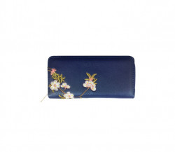 FABLE listová peňaženka s vyšívanými kvetmi - modrá