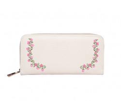 FABLE listová peňaženka s vyšívanými ružami - krémová