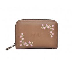 FABLE peňaženka s vyšívanými ružami - svetlohnedá